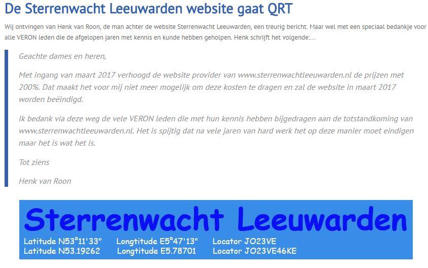 Sterrenwacht Leeuwarden QRT - Bericht op de VERON Website